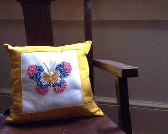 Daisy Stitch Butterfly Accent Pillow