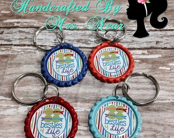 set of 4 Ninja Turtle inspired Besties 4 Life keychains/zipper pulls