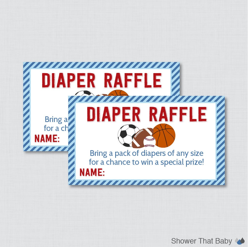 Sports Themed Baby Shower Diaper Raffle Tickets by ...