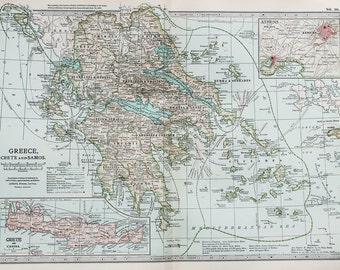 Antique Map : Greece, Athens, Crete. Encyclopedia Britannica, 1890s