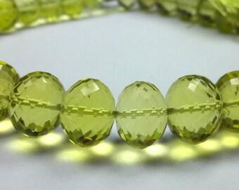 Green Gold Lemon Quartz Faceted Roundel Beads 10 inch Strand 8.5-13 M.M.