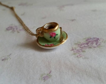 Hand painted teacup pendant with chain