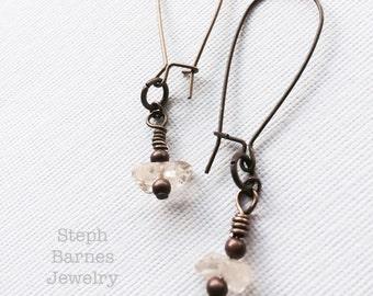 Semi-precious stone companion earrings in bronze with copper detail