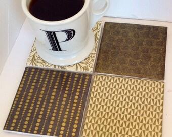 Gold Ceramic Tile Contemporary Coasters Set of 4 (Housewarming, Wedding, Graduation, Birthday, Christmas)