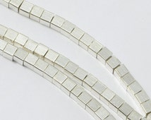 100pcs Brass Cube Beads in Bright Silver, 3mm Wrap Bracelet Beads, Loose, Spacers, Square #SD-S7143