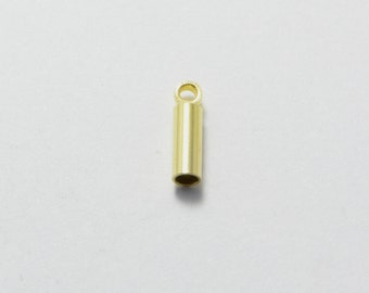 50pcs Cord End Caps in Gold, Tubes, Cord Loops, Cord Caps. Fit for 1mm Cords. Jewelry Findings Supplies #SD-S7244
