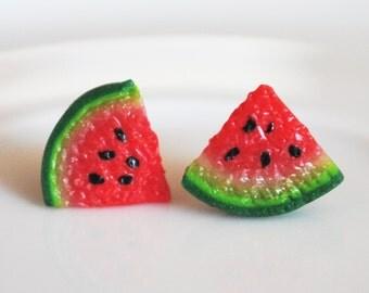 Polymer clay watermelon earrings