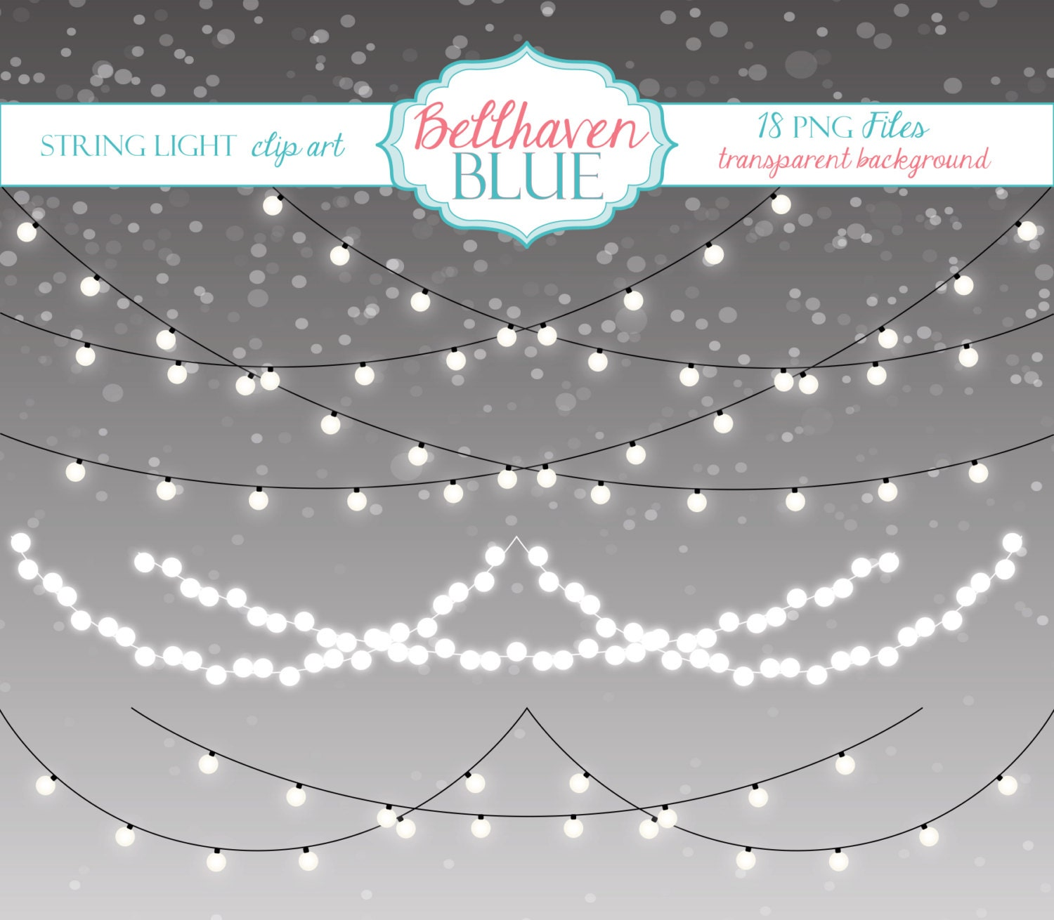 String Of Xmas Lights Clipart: String Light Clip Art By BellhavenBlue On Etsy