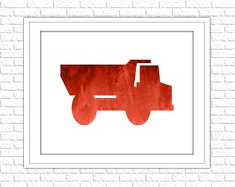 Truck Print | 8x10 Printable Art Print | Boy Nursery Wall Art | Nursery Printable | Nursery Subway Art | Instant Download Printable, Red
