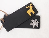 Christmas Gift Tag Chalkboard Tag Present Tag Gift Tag Black Gift Tag Glitter Silver Snowflake Gold Reindeer Wooden Tags Festive