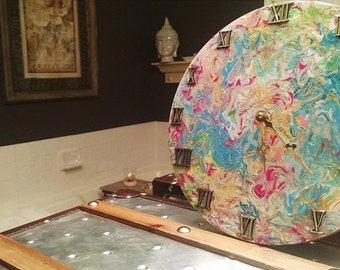 Rainbow Swirl Clock