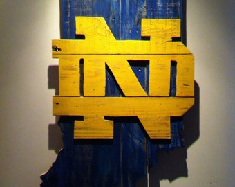 Wooden State of Indiana with Notre Dame logo