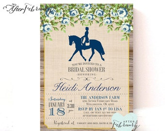 Floral Equestrian Bridal Shower Invite - Derby Bridal Shower Invite - Rustic Vintage Ranch Shower Invite - Printable No.927BRIDE