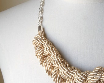 Beige Rope Braided Necklace, Chain Necklace, Knot Necklace, Nautical Wedding Necklace, Navy Necklace, Statement Necklace