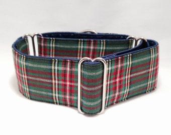 2 inch Martingale Collar, Green Tartan Plaids Fabric Martingale Collar, Greyhound Martingale Collar, Dog Martingale Collar
