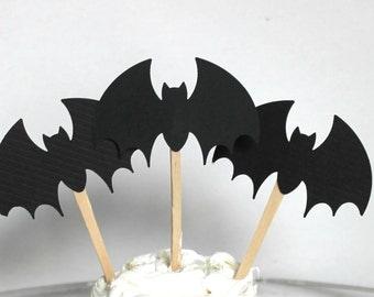12 Bat Cupcake Toppers | Halloween Cupcake Toppers | Halloween Cupcakes | Halloween Decorations | Halloween Food Picks