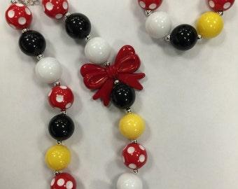 Girls Chunky Necklace, Girls Bubblegum Chunky Necklace, Mickey Mouse Chunky Necklace