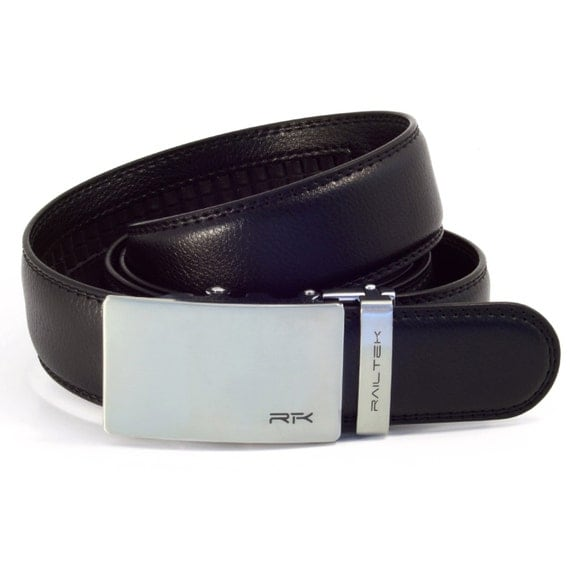 s leather ratchet belt brushed steel