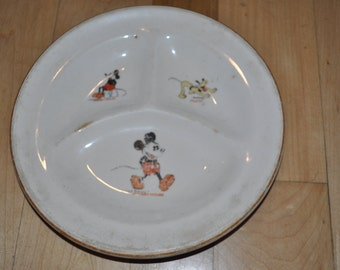 1930's Disney Mickey Mouse and Pluto Plate!