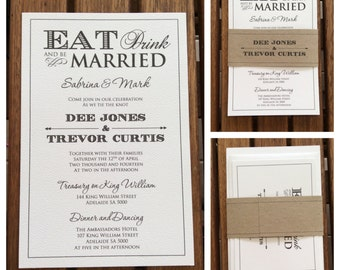 Eat, Drink and be Married Wedding Invitation includes RSVP card