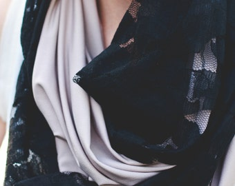 Lace Infinity Scarf- Silky Champagne Fabric with Soft Black Lace