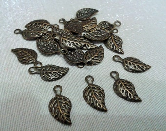 150 Pieces Antique Bronze  6,5 x 13 mm Small Leaf Charms