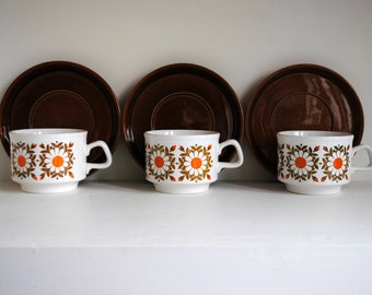 Set of 3 Vintage 1970s 'Staffordshire Potteries Ltd' coffee cups and saucers