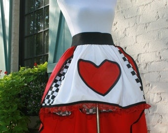Adult Queen of Hearts …Alice in Wonderland Premium Two Layered Skirt… Halloween Costume..Matching Family Costume….
