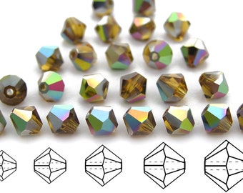 Topaz Vitrail coated, Czech MC Bicone Bead (Rondell, Diamond Shape) in 3mm, 4mm and/or 6mm, Brown Vitrail Coated Crystal Beads