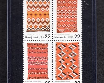 Navajo Blankets 22 Cent 1986 - Four Unused Postage Stamps - Vintage Collectible