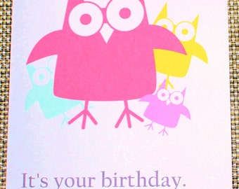 Owl birthday card - Have a hoot - P5/32