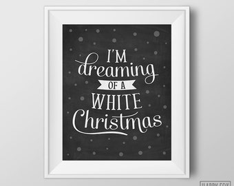 Popular items for typography christmas on etsy for Dreaming of a white christmas lyrics
