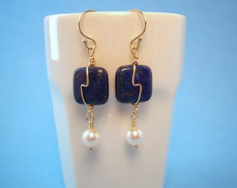 Lapis Lazuli and Antique Cultured Pearl Earrings with Gold Filled Wire Detail and Gold Filled Ear Wires