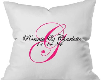 Personalized throw pillow with monogram, couple's names, and wedding date.