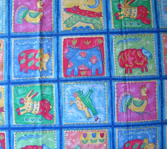 Items similar to colorful animals fabric for kids cotton for Childrens dress fabric