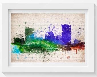 Rochester New York Skyline In Color Poster, Home Decor, Gift Idea