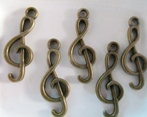 5 Treble Clef Musical Note Charms- Bronze- 1 inch