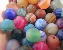 10 Mixed Striped Agate- 10mm Matte Finish- Striated Round Semi Precious Gemstone Beads