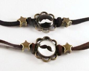 Teen Mustache Bracelet- Handmade- 25mm- Choice of Color!