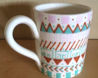 Aztec Design Pink & Green Mug