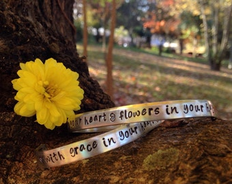 Handstamped bracelet | gift for music lover | with grace in your heart & flowers in your hair - mumford and sons | custom bracelet