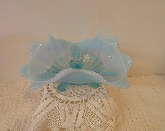 Vintage gorgeous bowl, opalescent blue glass Aqua dish / bowl