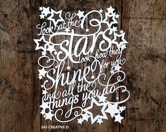 Original Unframed Papercut  'Look at the Stars' by Samantha's Papercuts