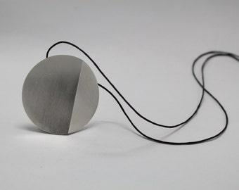Silver circle pendant, geometric pendant, modern pendant, minimalist pendant,Contemporary Jewelry