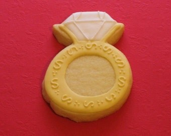 Decorated Diamond Ring Cookies, Gold Cookies, Bride-to Be Cookies, Wedding Cookies, Custom Wedding Cookies
