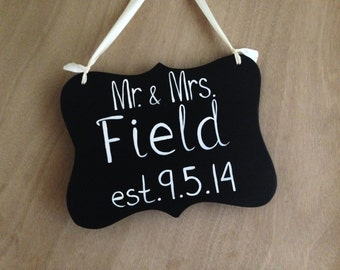 Mr and Mrs Sign, Ring Bearer Sign, Beach Wedding Sign, Black and White Sign, Key West Wedding Decor