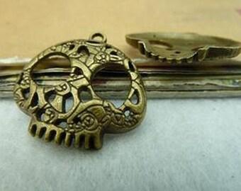 15pcs 27x27mm Antique Bronze Lovely Skull Charm Pendant C3185