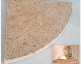"Travertine Shower Corner Shelf (Noce) - 8"" Natural Stone Bathroom Caddy Bath Soap Dish"