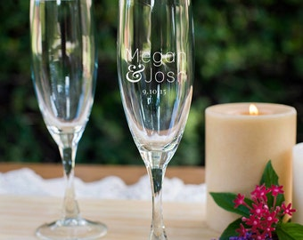 Engraved Personalized Bride & Groom Champagne Flute