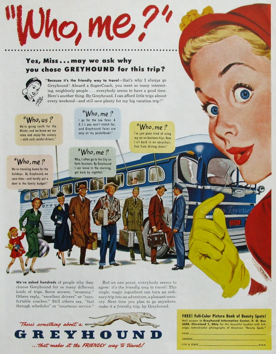 1951 Greyhound Bus Travel Ad Friendly Way To Travel 1950s